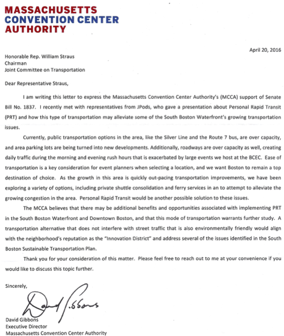Convention Center Letter of Support